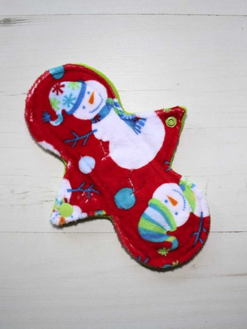8″ Regular Flow cloth pad | Snowman Plush | Lemongrass Wind Pro Fleece | Luna Landings | Slim Sub 1
