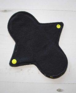 8″ Regular Flow cloth pad | Yellow Ink Cotton Jersey | Charcoal Wind Pro Fleece | Luna Landings | Sub 3