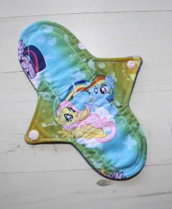 9″ Light Flow cloth pad | Rainbow Ponies Cotton | Blue Wind Pro Fleece | Luna Landings | Sub 1