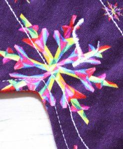 "9"" Liner cloth pad   Snowflakes on Purple Cotton Jersey   Red Wind Pro Fleece   Luna Landings   Slim Sub"