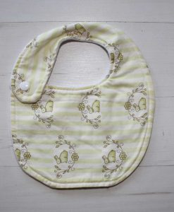 Bunny Candy Stripe Cotton Side Snap Bib