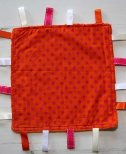 Orange with Pink Dots Taggie