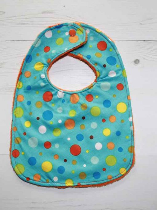 Bright Dots Cotton Rear Snap Bib