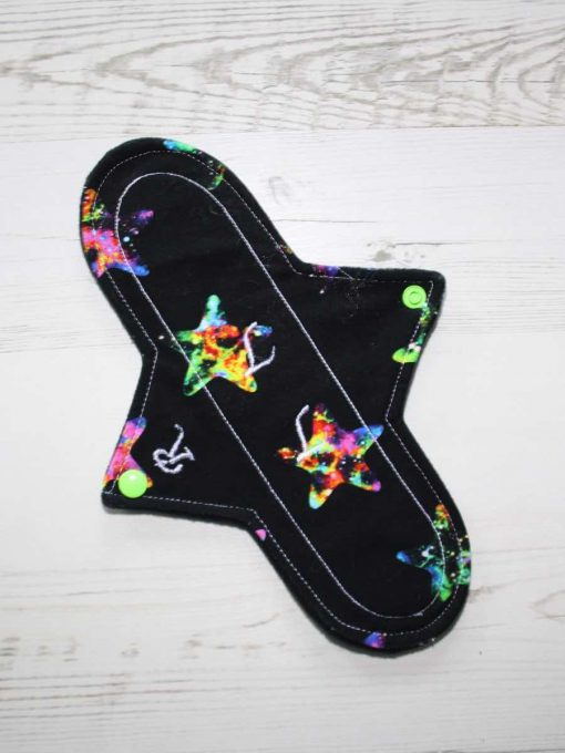 10″ Regular Flow cloth pad | Black and Galaxy Stars Cotton Jersey | Lemongrass Wind Pro Fleece | Luna Landings | 1