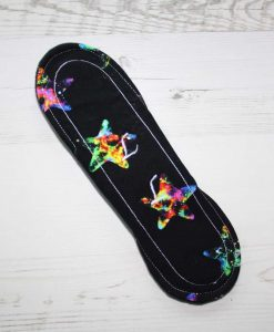 10″ Regular Flow cloth pad | Black and Galaxy Stars Cotton Jersey | Lemongrass Wind Pro Fleece | Luna Landings | 5