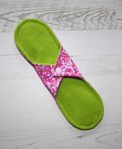 10″ Regular Flow cloth pad | Rose Glitter Cotton Jersey | Lemongrass Wind Pro Fleece | Luna Landings | 4