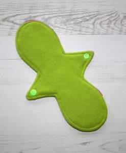 10″ Regular Flow cloth pad | Tea Rex Fuschia Cotton Jersey | Black Wind Pro Fleece | Luna Landings | 3