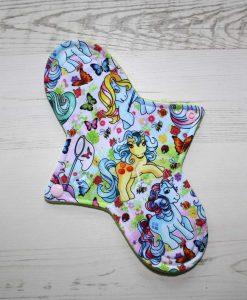 "10"" Regular Flow cloth pad | Vintage Ponies Cotton Jersey | Black Wind Pro Fleece | Luna Landings |"