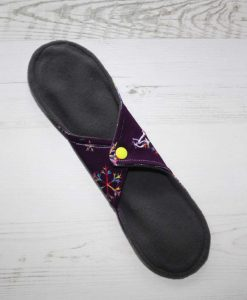 11″ Regular Flow cloth pad   Snowflakes on Purple Cotton Jersey   Lemongrass Wind Pro Fleece   Luna Landings   4