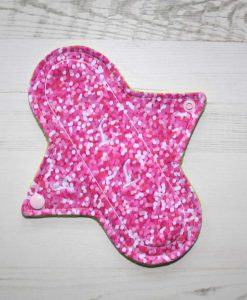 8″ Light Flow cloth pad | Rose Glitter Cotton Jersey | Mint Wind Pro Fleece | Luna Landings |