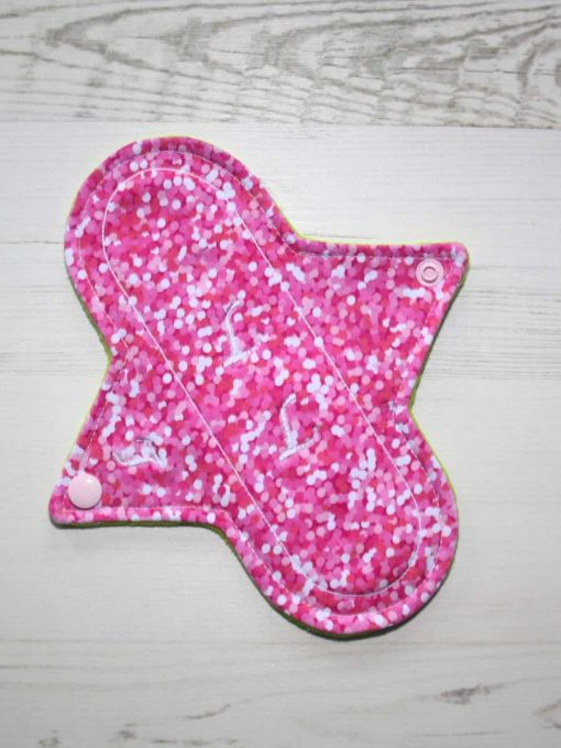 8″ Light Flow cloth pad | Rose Glitter Cotton Jersey | Mint Wind Pro Fleece | Luna Landings | 1