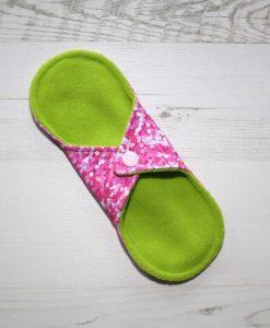 8″ Light Flow cloth pad | Rose Glitter Cotton Jersey | Mint Wind Pro Fleece | Luna Landings |
