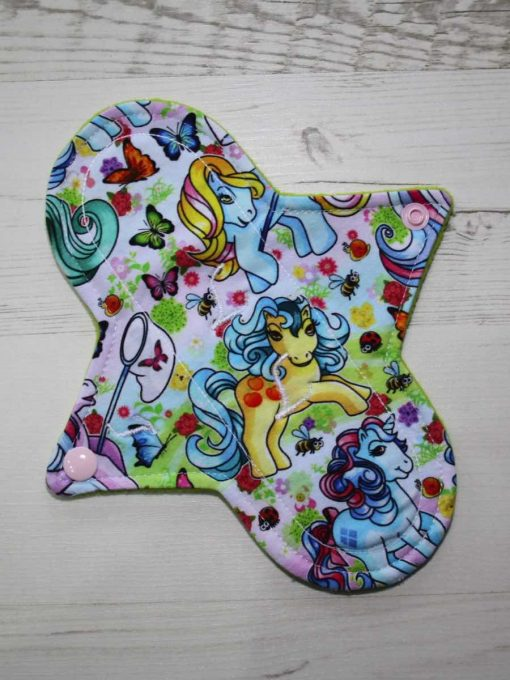 8″ Light Flow cloth pad | Vintage Ponies Cotton Jersey | Charcoal Wind Pro Fleece | Luna Landings | 1