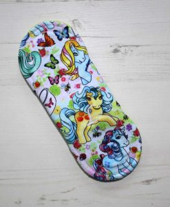8″ Light Flow cloth pad | Vintage Ponies Cotton Jersey | Charcoal Wind Pro Fleece | Luna Landings | 5