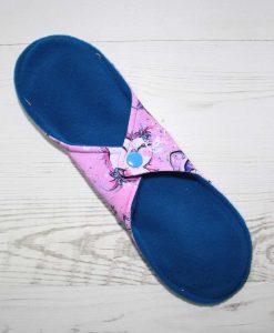 10″ Regular Flow cloth pad   Cute Owls Bamboo Jersey   Blue Wind Pro Fleece   Luna Landings   Sub 4