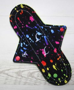 10″ Regular Flow cloth pad | Rainbow Ink Cotton Jersey | Lemongrass Wind Pro Fleece | Luna Landings | Sub 1