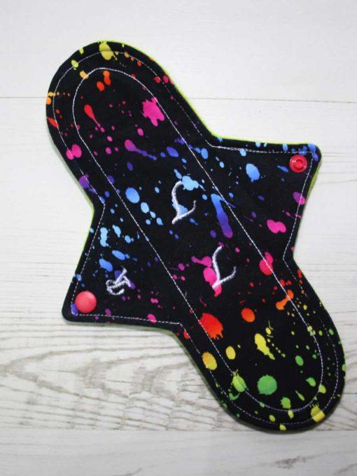 10″ Regular Flow cloth pad | Rainbow Ink Cotton Jersey | Lemongrass Wind Pro Fleece | Luna Landings | Sub 1