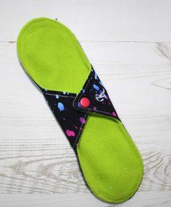 10″ Regular Flow cloth pad | Rainbow Ink Cotton Jersey | Lemongrass Wind Pro Fleece | Luna Landings | Sub 4