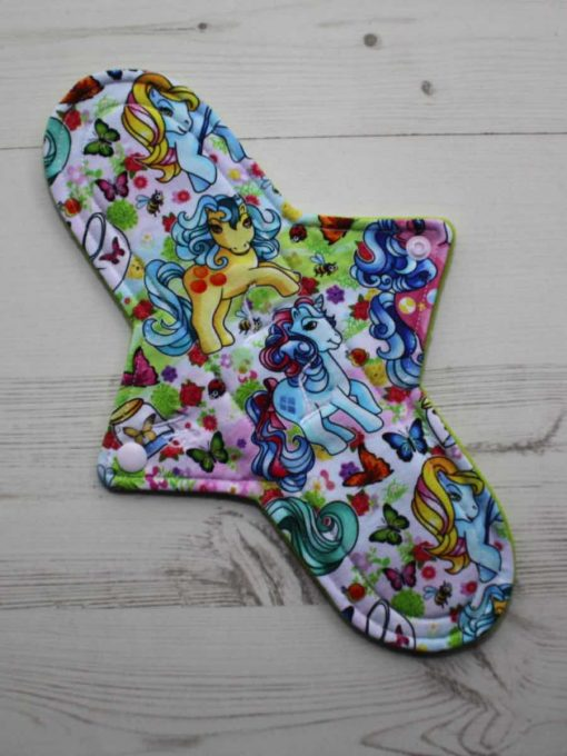 11″ Heavy Flow cloth pad | Vintage Ponies Cotton Jersey | Lemongrass Wind Pro Fleece | Luna Landings | Sub 1