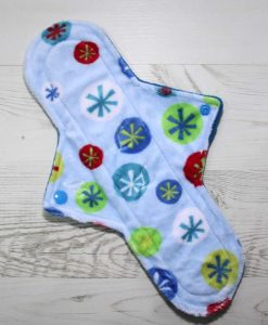 12″ Heavy Flow cloth pad | Blue Snowflake Plush | Blue Wind Pro Fleece | Luna Landings | Sub 1