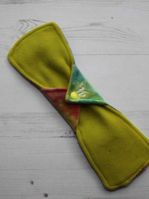 "12"" Heavy Flow cloth pad | Rainbow Plush | Yellow Wind Pro Fleece | Luna Landings | Double Flare"