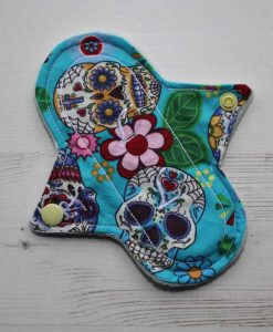 6″ Regular Flow cloth pad | Day of the Dead Aqua Cotton | Mint Wind Pro Fleece | Luna Landings | Sub 1