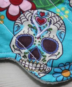 6″ Regular Flow cloth pad | Day of the Dead Aqua Cotton | Mint Wind Pro Fleece | Luna Landings | Sub 2