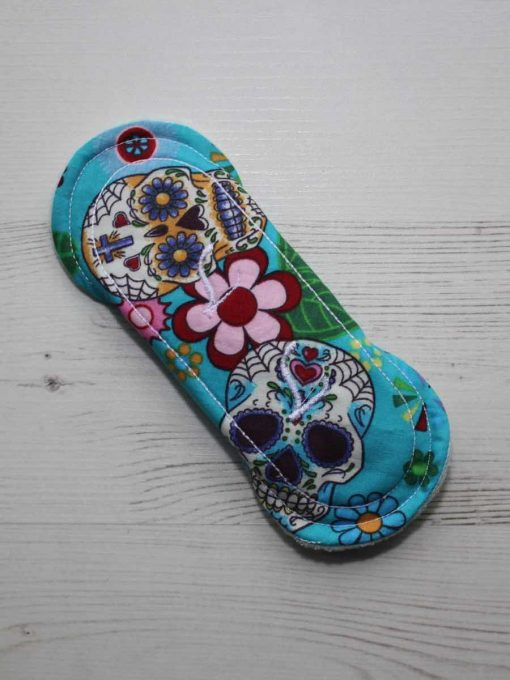6″ Regular Flow cloth pad | Day of the Dead Aqua Cotton | Mint Wind Pro Fleece | Luna Landings | Sub 5