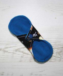 6″ Regular Flow cloth pad | Solar Systems Planets Black Cotton | Blue Wind Pro Fleece | Luna Landings | Sub 4