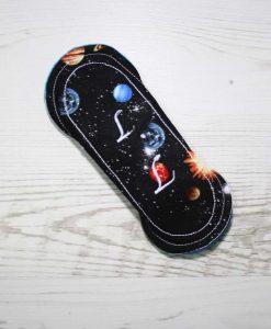 6″ Regular Flow cloth pad | Solar Systems Planets Black Cotton | Blue Wind Pro Fleece | Luna Landings | Sub 5