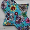 8″ Regular Flow cloth pad | Day of the Dead Aqua Cotton | Mint Wind Pro Fleece | Luna Landings | Sub 1