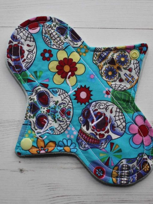 8″ Regular Flow cloth pad | Day of the Dead Aqua Cotton | Mint Wind Pro Fleece | Luna Landings | Sub