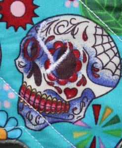 8″ Regular Flow cloth pad | Day of the Dead Aqua Cotton | Mint Wind Pro Fleece | Luna Landings | Sub 2