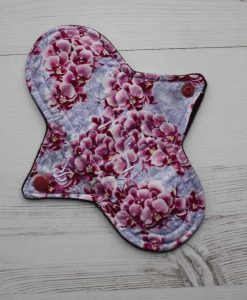 8″ Regular Flow cloth pad | Orchid Blooms Cotton | Wine Wind Pro Fleece | Luna Landings | Sub 1