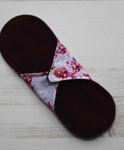 8″ Regular Flow cloth pad | Orchid Blooms Cotton | Wine Wind Pro Fleece | Luna Landings | Sub 4