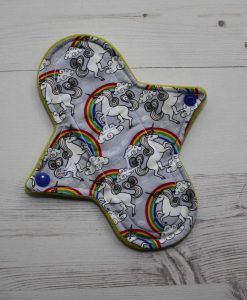 8″ Regular Flow cloth pad | Silver Unicorns Cotton | Yellow Wind Pro Fleece | Luna Landings | Sub 1
