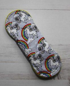 8″ Regular Flow cloth pad   Silver Unicorns Cotton   Yellow Wind Pro Fleece   Luna Landings   Sub 5