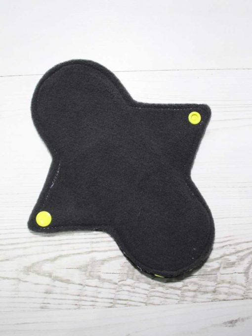 8″ Regular Flow cloth pad | Yellow Ink Cotton Jersey | Grey Wind Pro Fleece | Luna Landings | Sub 3