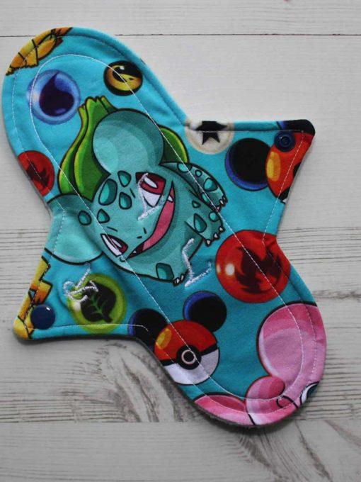 "9"" Regular Flow cloth pad | Pokemon on Green Cotton Jersey | Mint Wind Pro Fleece | Luna Landings | Sub"
