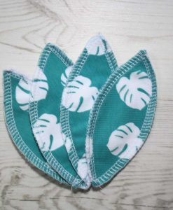 Teal Monstera Interlabial pads – set of 4