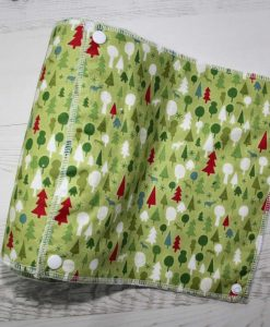 Graphic Christmas Forest Green - Reusable Kitchen Roll - Set of 8