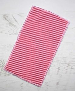 Red Stripes - Reusable Kitchen Wipe - Half Sheet