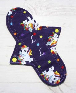 10″ Heavy Flow cloth pad | My Little Pony Unicorns Cotton Jersey | Burgundy Wind Pro Fleece | Luna Landings | Sub 1