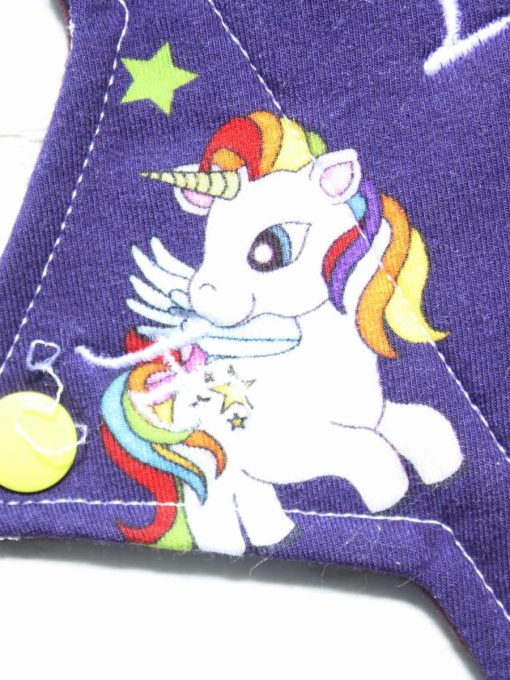 10″ Heavy Flow cloth pad | My Little Pony Unicorns Cotton Jersey | Burgundy Wind Pro Fleece | Luna Landings | Sub 2