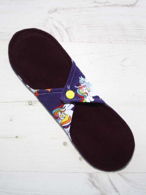 10″ Heavy Flow cloth pad | My Little Pony Unicorns Cotton Jersey | Burgundy Wind Pro Fleece | Luna Landings | Sub 4