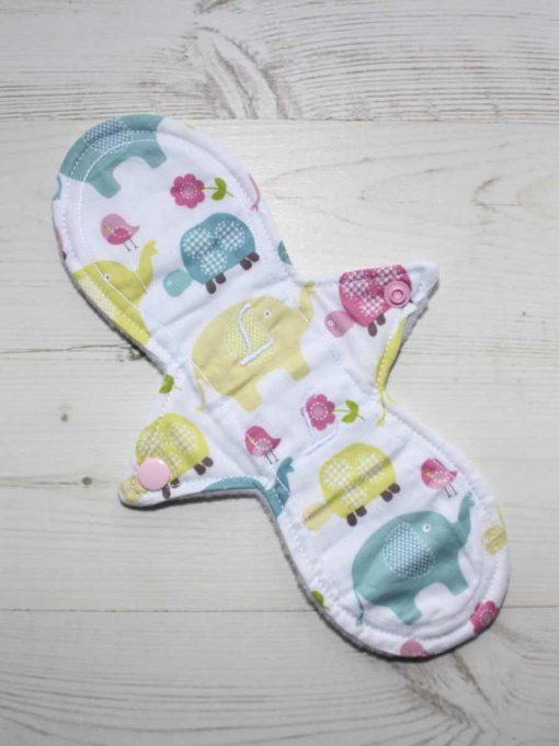 10″ Liner cloth pad | Elephant and Tortoise Cotton | White Polar Fleece | Luna Landings | Slim Sub 1