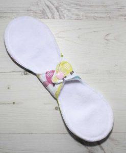 10″ Liner cloth pad | Elephant and Tortoise Cotton | White Polar Fleece | Luna Landings | Slim Sub 4