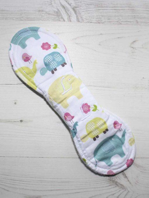 10″ Liner cloth pad | Elephant and Tortoise Cotton | White Polar Fleece | Luna Landings | Slim Sub 5