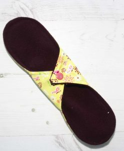 10″ Regular Flow cloth pad | Butterfly Meadow Yelllow Cotton | Burgundy Wind Pro Fleece | Luna Landings | Sub 4