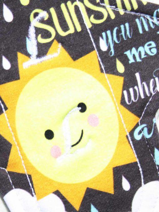"6"" Light Flow cloth pad | You Are My Sunshine Cotton Jersey | White Polar Fleece | Luna Landings | Sub"